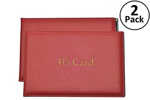 ID Card Holder with 2 Clear Card Sleeves - Driver License and Identification Card Protector, Medicare Card, Health Insurance, Credit Card Holders, Red, 2 Pack -