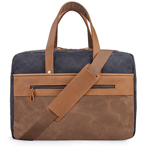 Mens Messenger Bag 15.6 Inch Genuine Leather Laptop Briefcase Waterproof Waxed Canvas Travel Laptop Bag Large Business Office Computer Satchel Shoulder Bag Fits 15 Inch Laptop, Grey