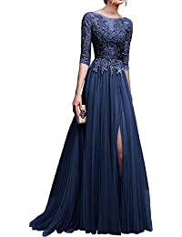 Applique Tulle 3/4 Sleeves Long Prom Dresses 2018 for Women
