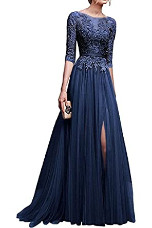Amazon.com: MisShow Applique Tulle 3/4 Sleeves Long Prom