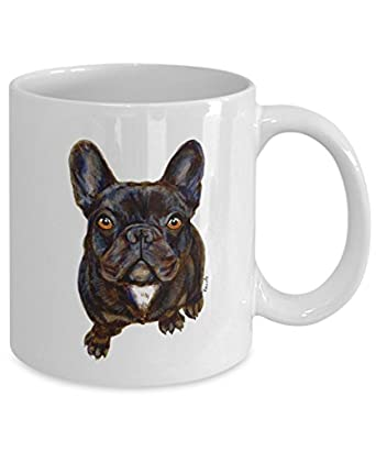 Chocolate Brown French Bulldog Mug - Style No.12 - Cute Ceramic Frenchie Coffee Cup (11oz)