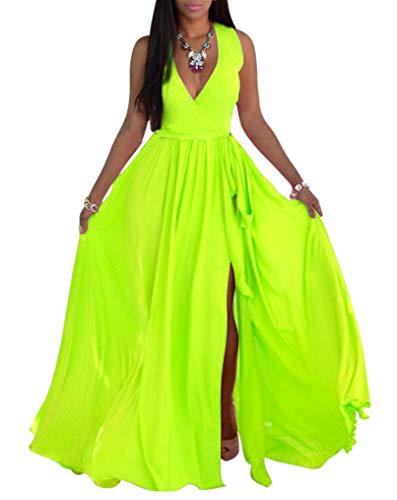 SheKiss Womens Sexy V-Neck Chiffon Long Maxi Dresses Sleeveless Split Beach Bridesmaid Flowy Sundress Green