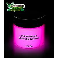 Glominex AD391, 1 oz Jar Pink Glow Body Paint, Glow in The Dark Body Paint, Glow in The Dark Paints, Glow in The Dark Party Accessories