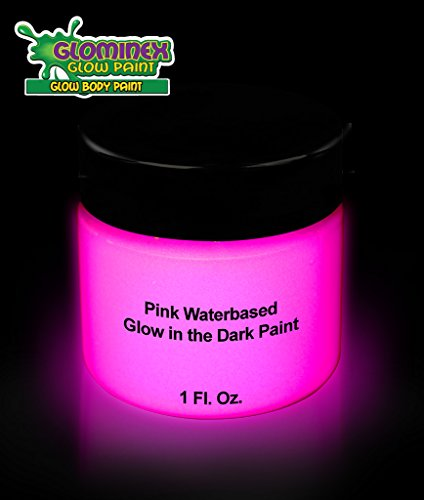 Glominex AD391, 1 oz Jar Pink Glow Body Paint, Glow in The Dark Body Paint, Glow in The Dark Paints, Glow in The Dark Party Accessories
