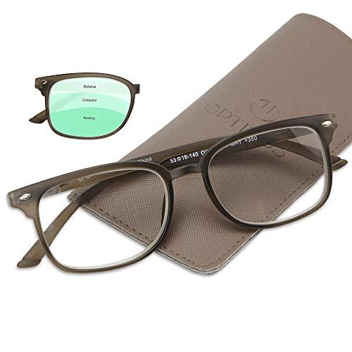 Progressive Reading Glasses - Bonus Pouch - No Line Gradual Multifocal Lenses, 3 Magnification Strengths in 1: +150 Reading, 100 Computer Desk, 50 Distance/Surroundings- By Optix 55