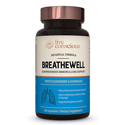 BreatheWell Botanical Respiratory Immune Supplement | with Echinacea, Elderberry, Zinc | Antioxidant Immune System Support Vitamins - by Live Conscious - 60 Capsules