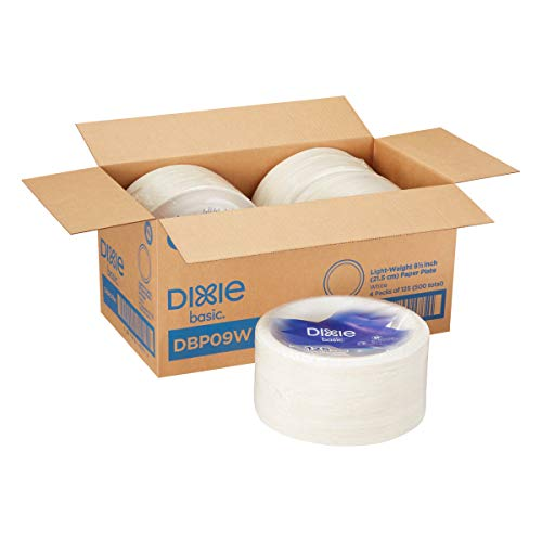 Dixie Basic 9 Light-Weight Paper Plates by GP PRO (Georgia-Pacific), White, DBP09W, 500 Count (125 Plates Per Pack, 4 Packs Per Case)