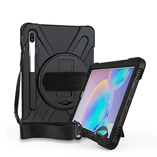 ABOUTTHEFIT Rugged Cover for Samsung Galaxy Tab S6 10.5 Case Shockproof Heavy Duty Full Body Protective 10.5-inch Tough Bumper Shell with Pen Holder, Stand and Shoulder Strap SM-T860 T865 2019(Black)