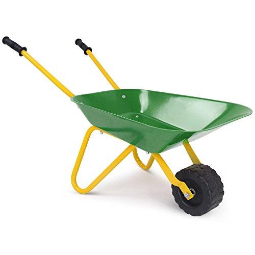 Costzon Kids Metal Wheelbarrow, Yard Rover Steel Tray, Garden Tool for Kids (Green)