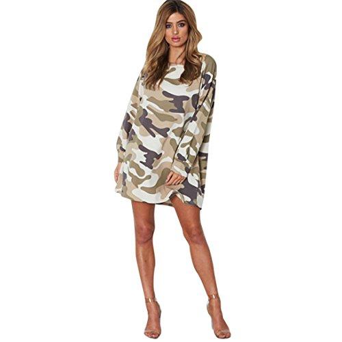 Décontractée Femmes Camouflage Manches Automne O Esailq Robe Mini Longues Cou Kaki Imprimer SnxgwCZq