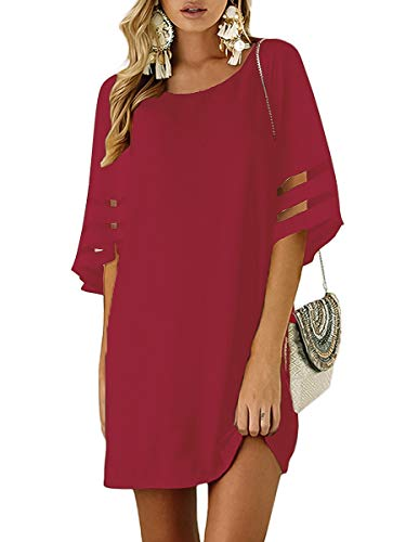 TECREW Womens 3/4 Bell Sleeve Crewneck Mesh Panel Flare Dress Casual Loose Chiffon Swing Dress