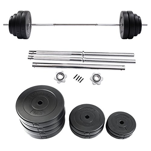 132 lbs Gym Lifting Exercise Barbell Dumbbell Set Steel Bar Polymer Weights by Apontus