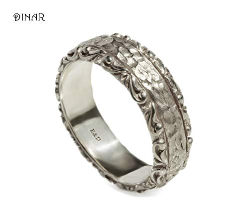 Hammered antique style textured engraved scrolls leafs artisan wide handmade womens solid sterling silver wedding band ring ()