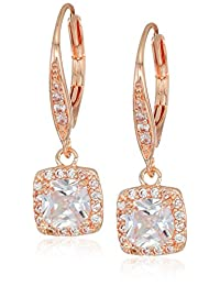 Classics Pe Single Stone Drop Earrings, Rose Gold/Cry