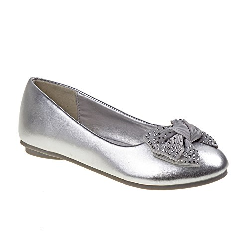 Girls Laura Ashley Ballerina Flat Shoes (13, Silver)