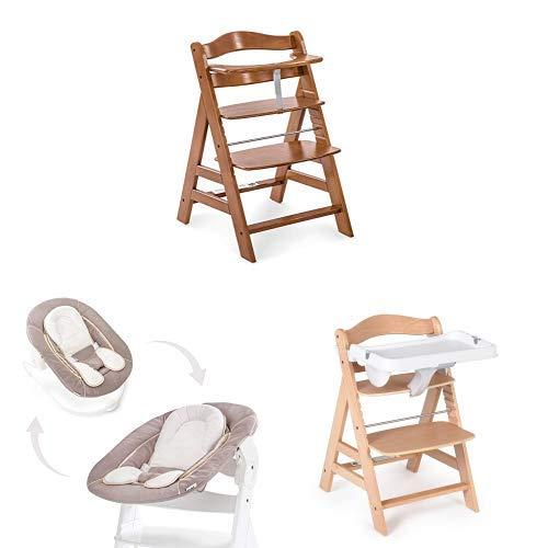 Bandeja en blanco en beige 3 Piezas Hauck Newborn Set : Trona Alpha en marr/ón oscuro con cojin reductor liso Hamaca