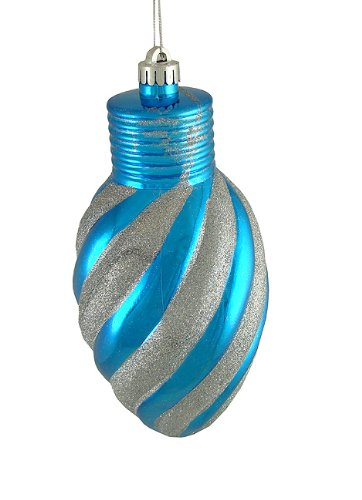 CC Christmas Decor Turquoise Blue Glitter Stripe Shatterproof Light Bulb Christmas Ornament, 11