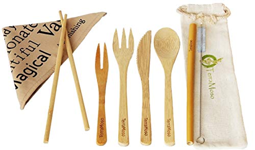 Amazon.com: Bamboo Cutlery 9 pcs Set with Canvas Carrying Bag - Travel Eco Friendly Utensils 7.5 inches - Fork, Knife, Spoon, Drinking Straw, Brush, ...