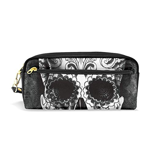 Multifunction Durable Cosmetic Bag White Black Skull Pencil Bag Pouch Bag Case Makeup Bag -