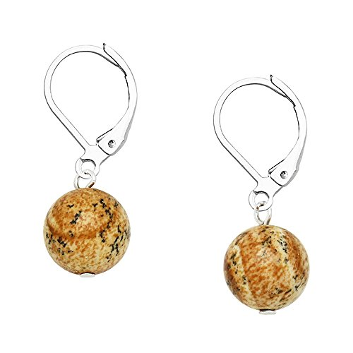 Falari 10mm Round Natural Stone Earring High Polished Rhodium Leverback Jasper - Jasper Quartz Earrings