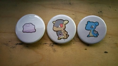 5x Pokemon Collectible 1'' inch Buttons - Ditto Kangakhan and Lapras Evolution Set - Custom Made - Pin Back - Gift Party Favor by Legacy Pin Collection