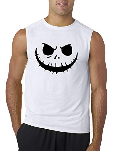 Trendy USA 971 - Men's Sleeveless Jack Skellington Pumpkin Face Scary 2XL White]()