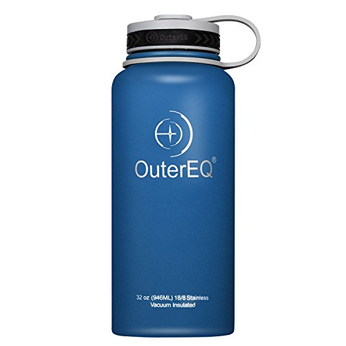 OuterEQ Insulated Stainless Steel 32 oz Water Bottle - Wide Mouth Bottles - Double Walled Vacuum (Blue)