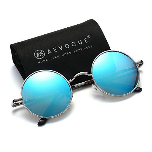 AEVOGUE Polarized Sunglasses Round Lens Metal Frame Retro Unisex Glasses AE0518 (Sliver&Blue, - Cool Sunglasses Round