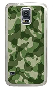 Camo Custom Samsung Galaxy S5 Case Back Cover, Snap-on Shell Case Polycarbonate PC Plastic Hard Case Transparent