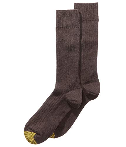 Gold Toe Mens Edinburgh Merino Wool Crew Dress Socks Brown 10-13