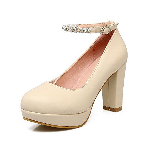 Suljetun Pyöreä Pumput Solid Beige Toe Naisten kengät Allhqfashion Fbudd011625 Korkokenkiä Solki qA0twxS
