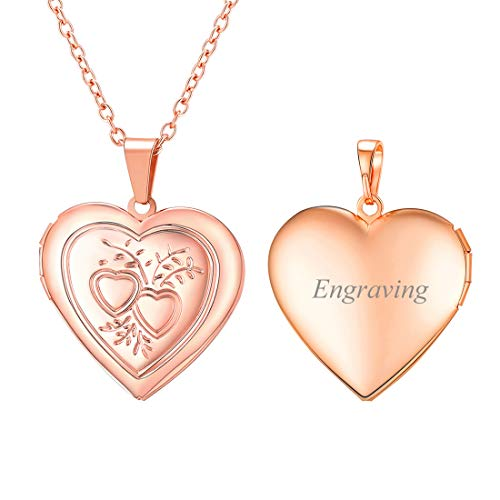 Lovers Locket - U7 Lover's Locket Necklace Rose Gold Plated Chain Heart & Heart Pendant That Hold Picture, Women Gift, Custom Engravable