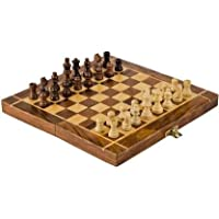 M.A HANDICRAFTS Handmade Wooden Folding Chess Board Game Set with Game Pieces Storage Slots (8 inch, Brown)