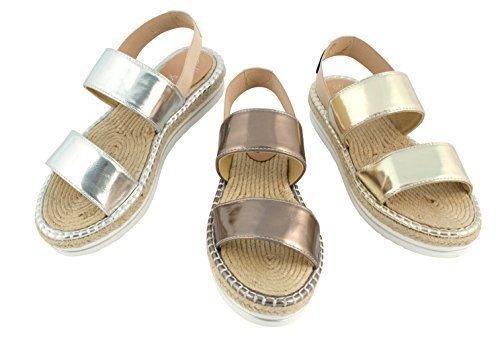 Élastique Plateforme Bronze Scarpa Bast Linea Bande Pulas et Sandalettes fermé Bronze Argent XxqOx
