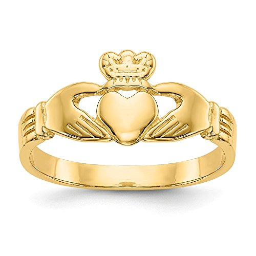 14k Yellow Gold Baby Irish Claddagh Celtic Knot Band Ring Size 3.00 Fine Jewelry Gifts For Women For Her ()