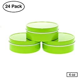 Mimi Pack 4 oz Tin Can Shallow Round Clear Solid Slip Top Lid for Salves, Favors, Spices, Balms, Candles, Gifts 24 Pack (Lime Green)