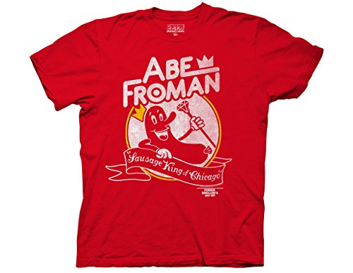 Ripple Junction Ferris Bueller's Day Off Adult Unisex Abe Froman Heavy Weight 100% Cotton Crew T-Shirt LG Red
