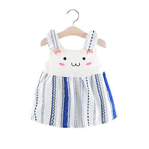 (Toddler Baby Girls Cute Rabbit Print Dress Off Shoulder Casual Party Skirts (Blue, 9-12 Months))