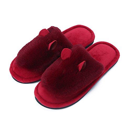 Damen Warm Bunny Pantoffeln Kaninchen Hausschuhe Plüschschuhe Plüsch Tier Hausschuhe Winter Indoor zu Hause Hausschuhe Schlafzimmer Schuhe Rot Rot
