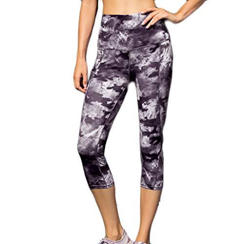 LiLiMeng Ladies Cloud Printed High Waist Fitness Skinny Slim Elastic Yoga Pants Sleeping Pockets Cropped Trousers Black ()