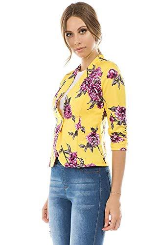 Bubble B Women's Floral Print Blazer Button Front Jacket Yellow L