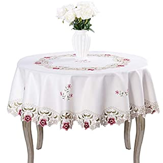 Damask Rose Red Little Plum Embroidered Beige Tablecloth Round 60 Inch  Approx