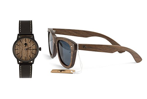 Viable Harvest Men's Wood Walnut Watch with Matching Real Wooden Wayfarer Sunglasses and Gift Box (Watch Box Set Gift)