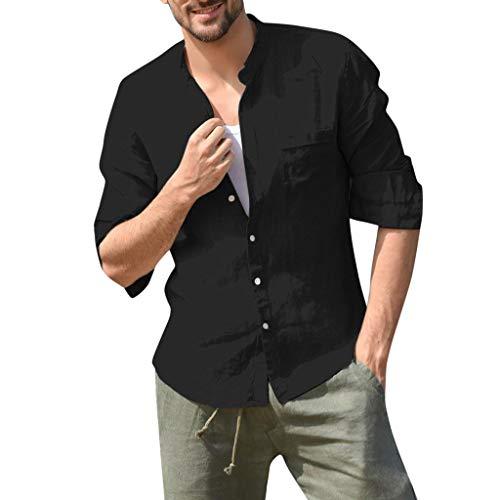 (MIS1950s Mens Shirt,Cotton Linen,Men's Stand Collar Shirt Tops Long Sleeve Casual Button Lapel T Shirt W/Pocket)