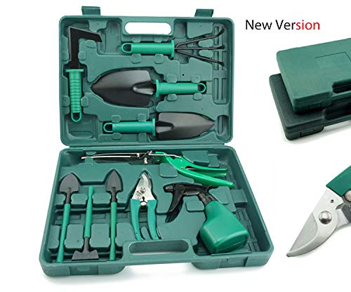 Set 1 Garden Tool - Clothink Garden Tools Set for Family - Portable 10 Pieces in 1 Toolbox Garden Tools Set Organizer for Family Parent-Child Women Men, Gardening Tools Kit Organizer Green Color