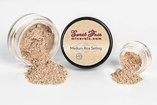 - MEDIUM RICE SETTING POWDER Mineral Makeup Matte Bare Face Concealer Loose Powder Full Coverage (20 gram Sifter Jar)