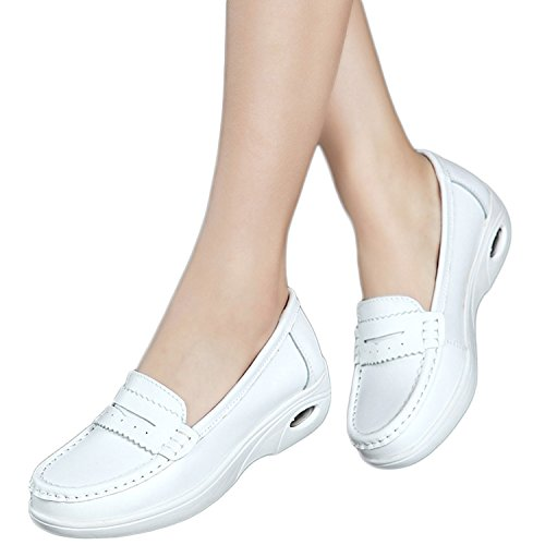 Maybest Women's Lightweight Air-Cushion Sports Nurse Shoes Mother Shoes Hollow Out Casual Flat Work Shoes Non-Slip Style 01