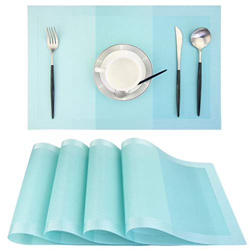 Placemats,18″x12″ Woven Vinyl Placemats for Dining Table,Washable Easy to Clean Table Mats,Non Slip Placemats Set of 4(Turquoise)