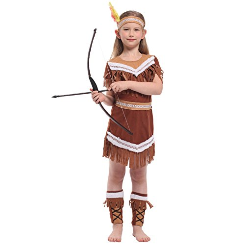 (Native American Indian Princess Costume Dress Hunter Clothes Halloween Cosplay (7-10))