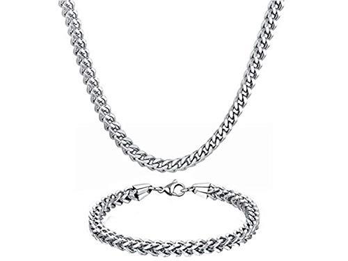 (WIBERN Stainless Steel Men Jewelry 3-6MM Wide 8